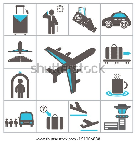 Airport icons. Set for you design - stock vector