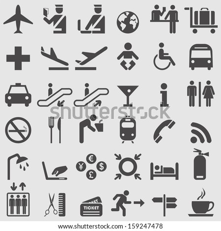 Airport icons set. Vector - stock vector