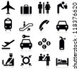Airport icons set.Vector illustration - stock photo