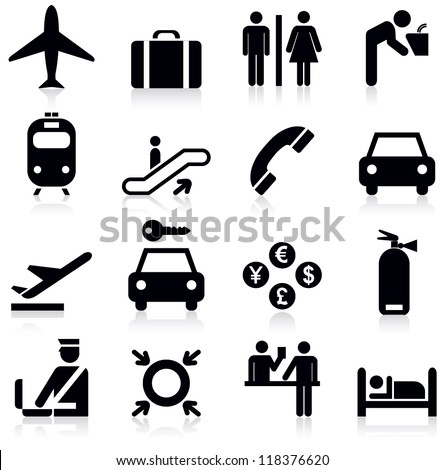 Airport icons set.Vector illustration - stock vector