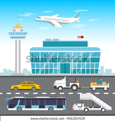 Airport infographic elements vector flat design illustration. Control tower vector. Air travel. Taxi, Bus, baggage. The movement of the different modes of transport at the airport - stock vector  - stock vector