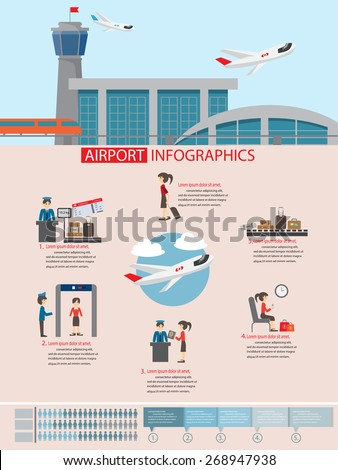 airport infographic flat design, with infographic elements templates.vector illustration. - stock vector