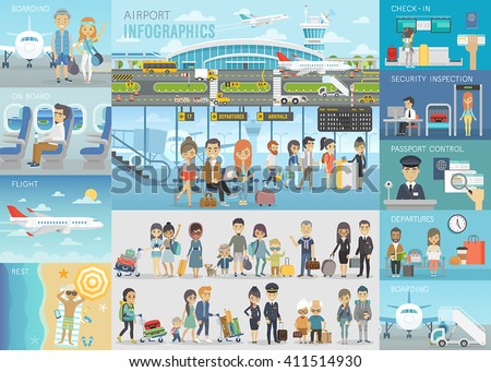 Airport Infographic set with charts and other elements. Vector illustration. - stock vector