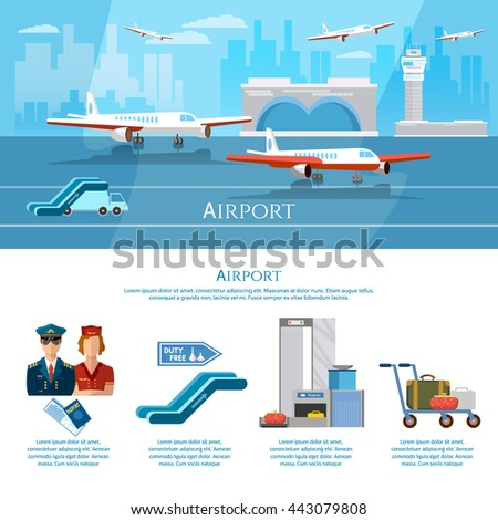 Airport infographics aircraft runway airline pilot stewardess baggage inspection scanner international airlines vector illustration - stock vector