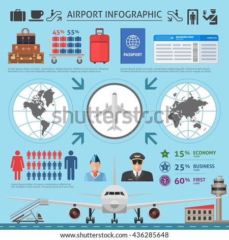 Airport infographics template with airplane world map runway luggage pilot and statistics on blue background vector illustration - stock vector