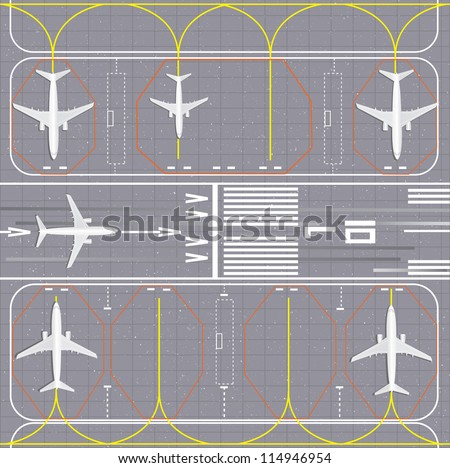 Airport layout. Vector Illustration. - stock vector