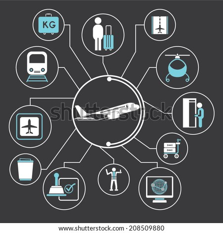airport management concept info graphic in black background, mind mapping - stock vector