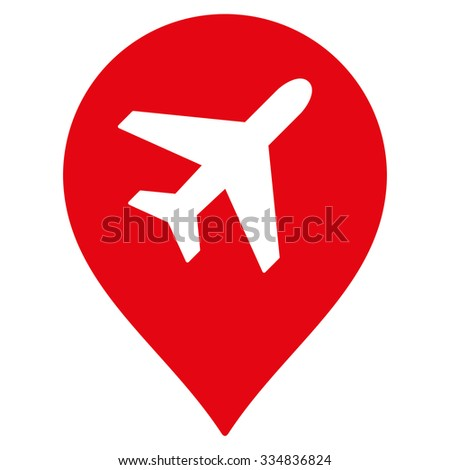 Airport Marker vector icon. Style is flat red symbol, rounded angles, white background.