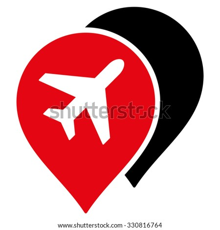Airport Markers vector icon. Style is flat bicolor intensive red and black symbol, rounded angles, white background.