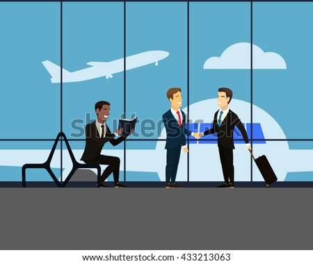 Airport. Meeting two businessmen. Handshake of two men in suits. Businessman with a suitcase on wheels. Takeoff. Man sits on a bench and reading a book. Large glass window in the airport hall. Vector.