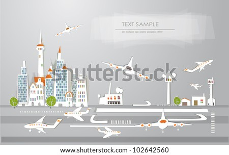 """Airport of the big city """"White city"""" collection - stock vector"""