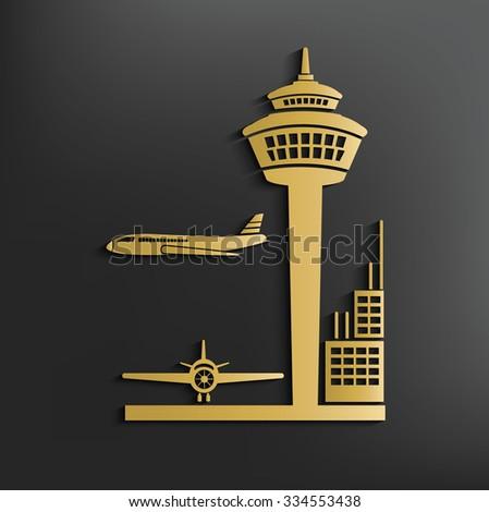 Airport on dark background,clean vector - stock vector