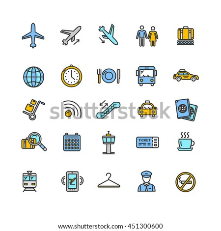 Airport Outline Colorful Icon Set. Vector illustration