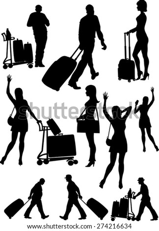 Airport passenger terminal. International arrival  and departures - stock vector