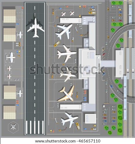 Airport passenger terminal top view. The runway of the aircraft. Buildings hangar for airplanes and helicopter landing pad. Railway station with train and parking with cars. Stock vector illustration