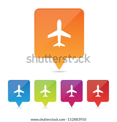 Airport Pin Icons - stock vector