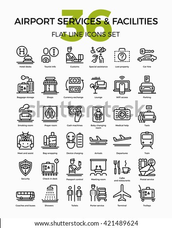 Airport services and facilities quality flat line vector icons set. Airway travel outline symbols bundle. Linear pictograms on customs, arrivals, departure, showers, prayer room, lost luggage and more - stock vector