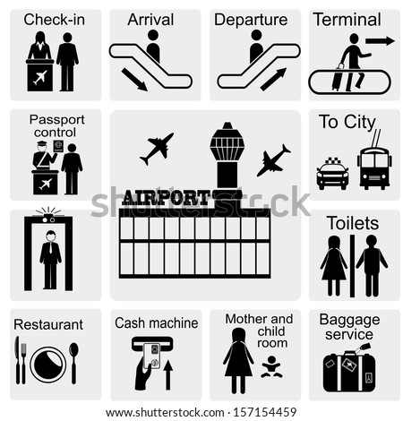 Airport Sign Airport Icons Set Stock Vector 157154459 Shutterstock