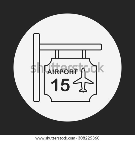 airport sign line icon - stock vector