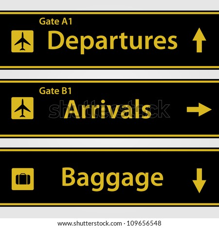 Airport Signs Vector Illustration - stock vector