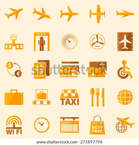 Airport Signs Vector Yellow Brown Basic Stock Vector 271897796