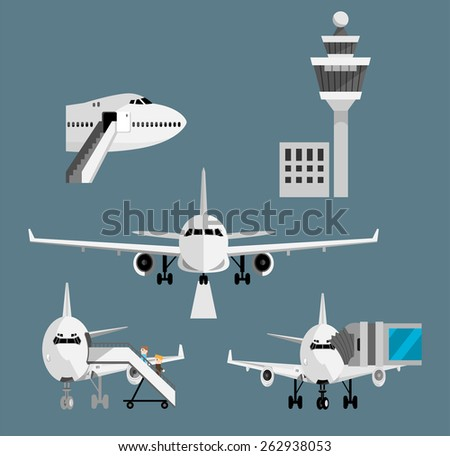 Airport terminal airplane set- Boarding, landing, connecting, control tower