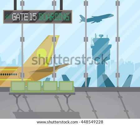 airport terminal with seats, plane, control tower, cityscape in background. Travel, vacation, Business trip concept. Vector illustration in flat design. - stock vector