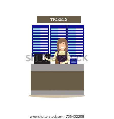 Airport ticket counter concept vector illustration in flat style. Airport people flat style design element, icon isolated on white background.