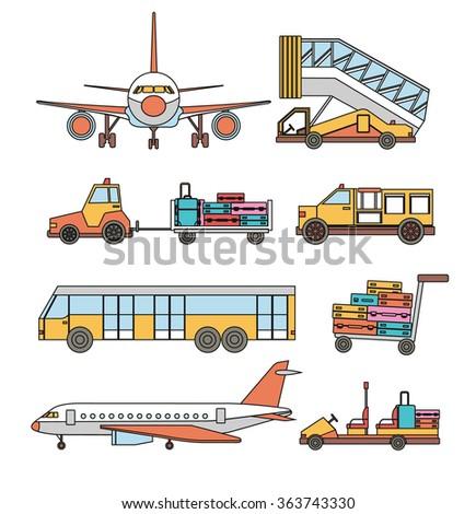 Airport transport vector line set - stock vector