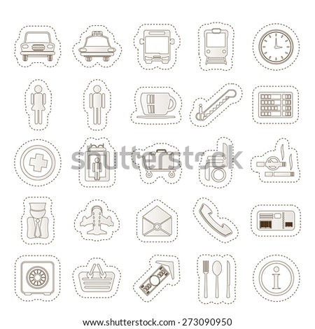 Airport, travel and transportation vector icon set - stock vector