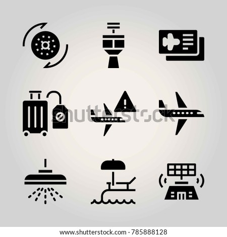 Airport vector icon net. loading, control tower, swimming pool and airplane