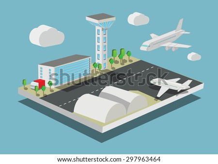 airport with airplanes concept Isometric vector illustration - stock vector