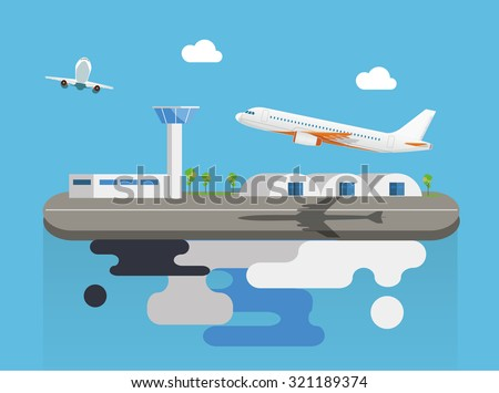 Airport with plane on flying island concept flat vector illustration - stock vector