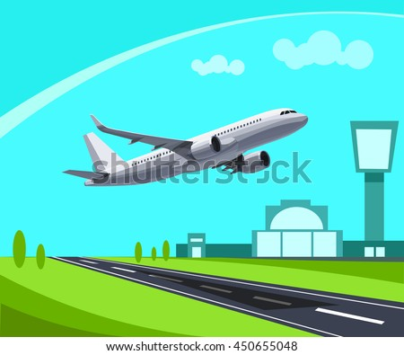 Airport with Runway and flying Plane Concept Illustration. Template for Infographic. - stock vector