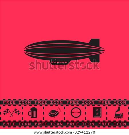 Airship. Black flat vector icon and bonus symbol - Racing flag, Beer mug, Ufo fly, Sniper sight, Safe, Train on pink background - stock vector