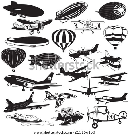 airship black icons - stock vector