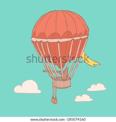 airship design, vector illustration, hand drawn - stock vector