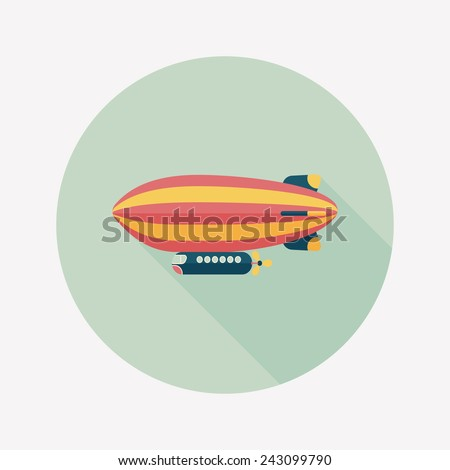 Airship flat icon with long shadow - stock vector