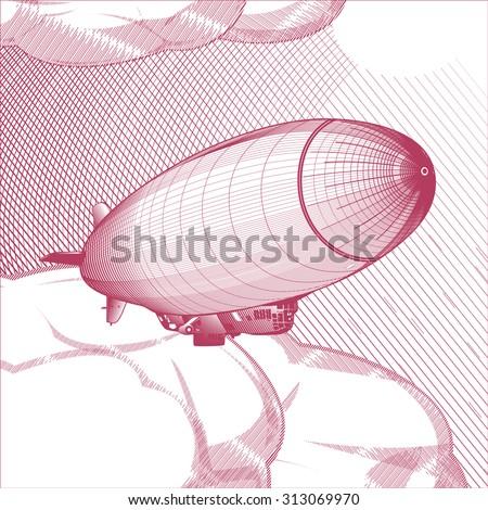 Airship, vector woodcut - stock vector