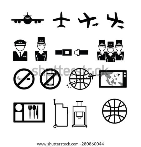 Airways service icons set flat - stock vector