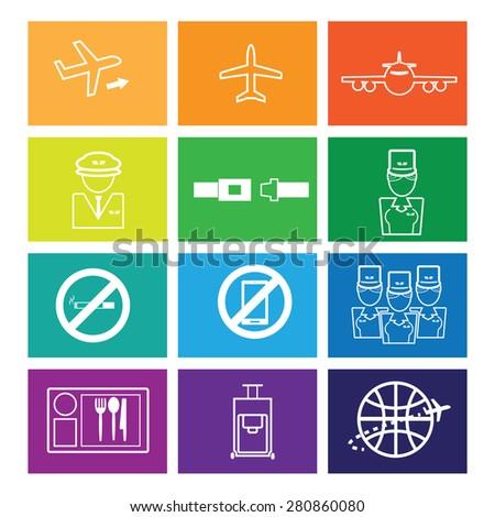 Airways service icons set flat line - stock vector