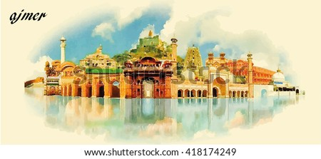 Ajmer city water color panoramic vector stock vector hd royalty ajmer city water color panoramic vector illustration altavistaventures Choice Image