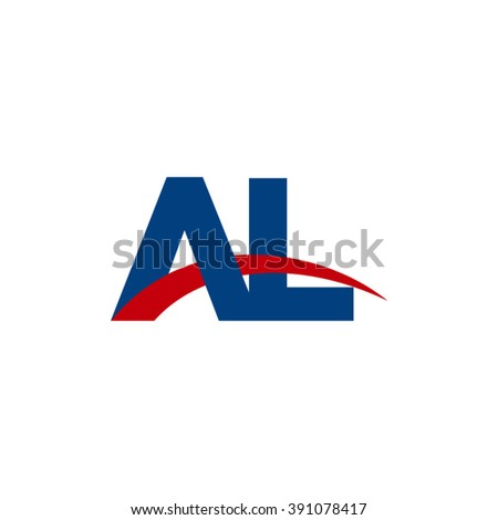 AL initial overlapping swoosh letter logo blue red