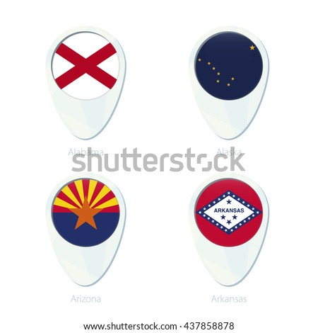Alabama, Alaska, Arizona, Arkansas flag location map pin icon. Alabama State Flag, Alaska State Flag, Arizona State Flag, Arkansas State Flag. Vector Illustration. - stock vector
