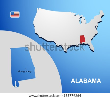 Alabama on USA map
