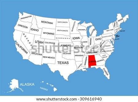Alabama State, USA, vector map isolated on United states map. Editable blank vector map of USA. - stock vector