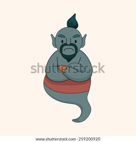Aladdin Genie theme elements - stock vector