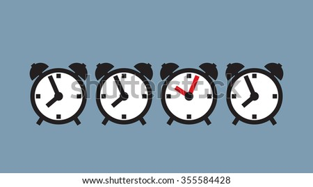 alarm clock ahead of time, breaking standards, conventions and rules  - stock vector