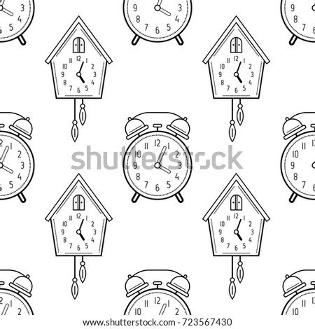 Alarm Clock And Cuckoo Black White Seamless Pattern For Coloring Books Pages