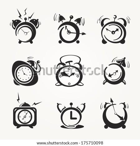 alarm clock black icons, vector - stock vector